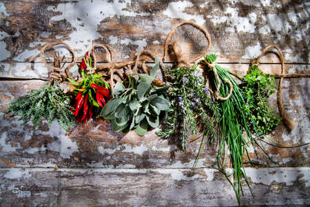 The flavors of the Mediterranean cuisine presentation of herbs