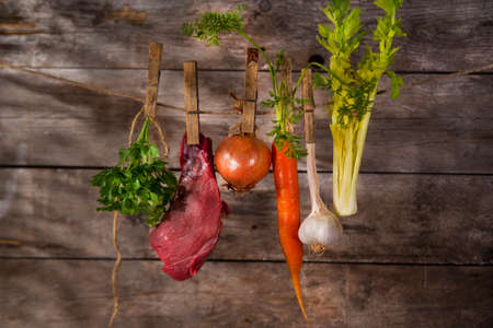 needed: Ingredients needed for the preparation of the broth of beef
