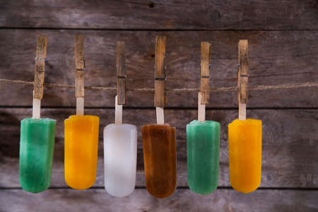 cool off: Cool off in summer with a break at the base of the fruit popsicles Stock Photo