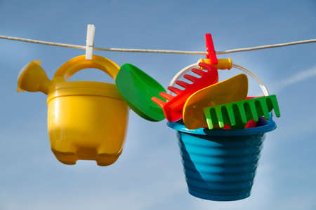Summer time representation of beach toys for children Stock Photo