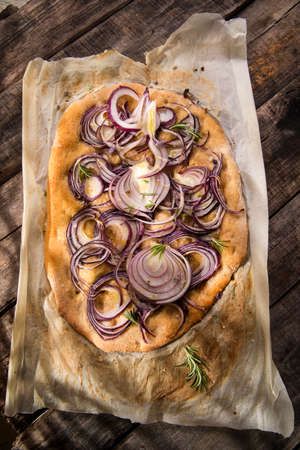 focaccia: Focaccia made with whole wheat flour with red onion