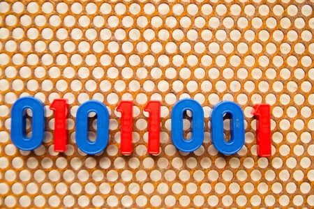 metal base: Series of numbers, 01011001 on white base metal