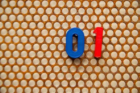 metal base: Series of numbers, 01 on white base metal