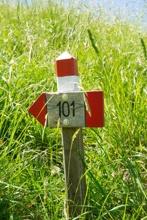 Signals typical for the identification of the path in the park of the Apuan Alps Italy photo