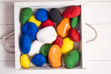 white marble: Series of stones of white marble colored with different colors Stock Photo