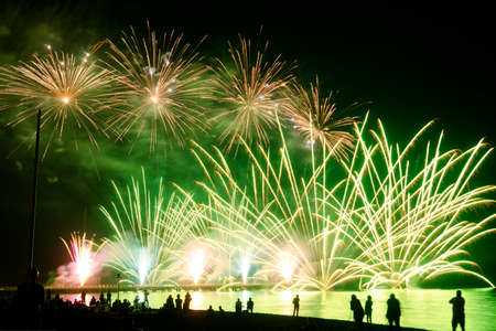 pyrotechnics: Event pyrotechnics on the pier of Forte dei Marmi Tuscany Italy