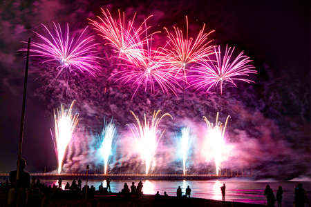 Event pyrotechnics on the pier of Forte dei Marmi Tuscany Italy