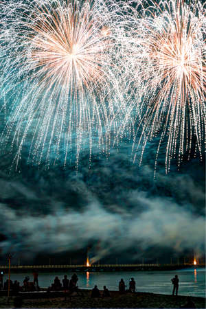 forte: Event pyrotechnics on the pier of Forte dei Marmi Tuscany Italy
