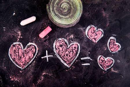 calculations: Representation with chalk on the blackboard of calculations rappresentani love
