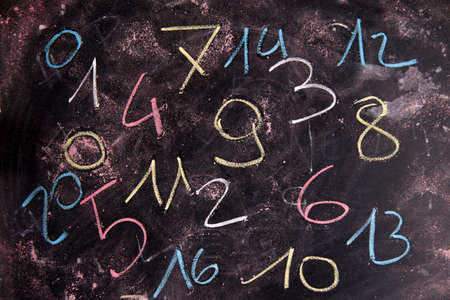 arabic numeral: Series of colored numbers drawn with chalk on blackboard