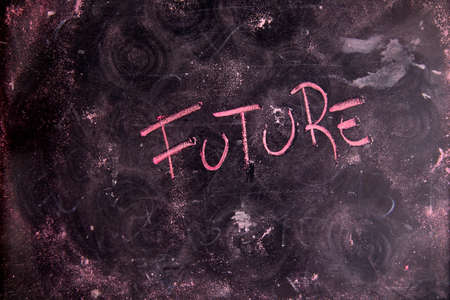 unsure: Graphical representation of the concept of the future with chalk and blackboard