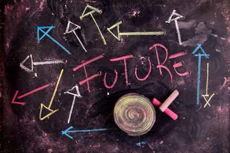 this: Graphical representation of the concept of the future with chalk and blackboard