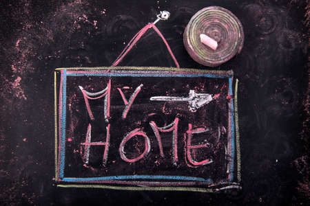 submission: Submission of written home, with chalk on blackboard