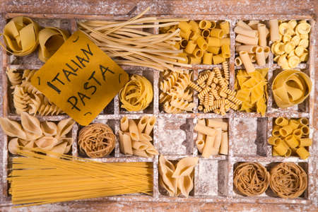 varieties: Presentation of varieties of Italian pasta made with white flour