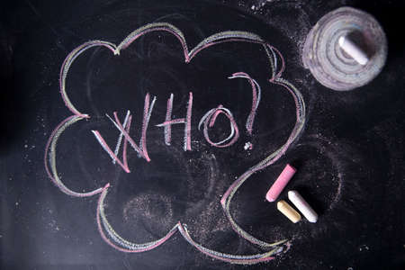 quizzes: Graphic representation with chalk on the blackboard of the Word, who