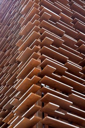perimeter: Perimeter wall of building built in wooden boards