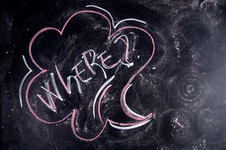 where: Written with chalk on blackboard graphic representation of the word ,where