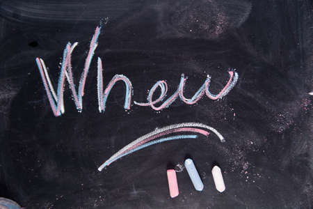 when: Graphic representation of the word with chalk on the blackboard when