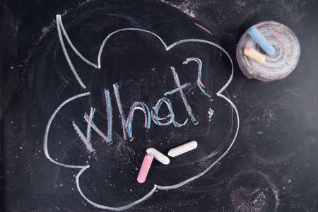 uncertain: Graphic representation of the word with chalk on the blackboard what