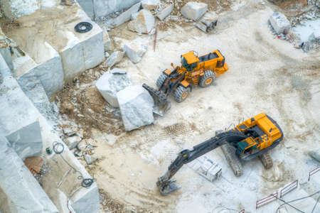 quarries: Broad view of the process in the white marble quarries in Carrara Italy