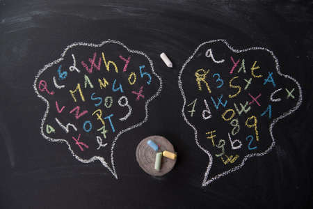 Syllables of words into the clouds drawn on blackboard with chalk