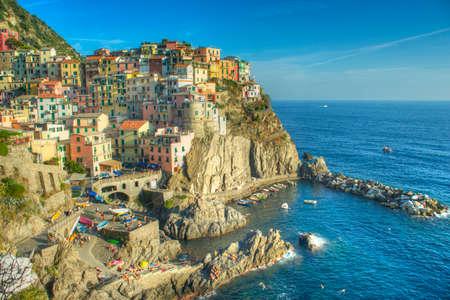 cinque: The Cinque Terre, Manarola, a World Heritage Site, Italy Stock Photo