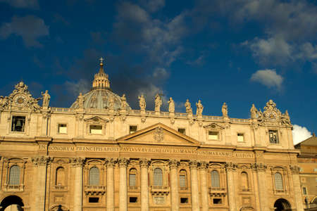 View of St. Peters Basilica in the Vatican, given the early hours of the day Stock Photo
