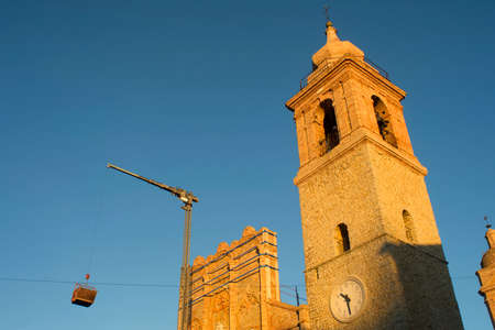 Recovery work after the earthquake of the collegiate church in San Ginesio Macerata Stock Photo