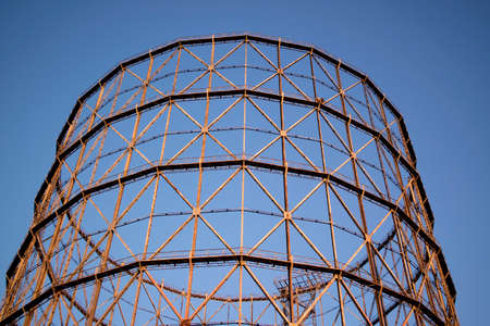 disuse: Old metal frame made for a gasometer in Rome Italy