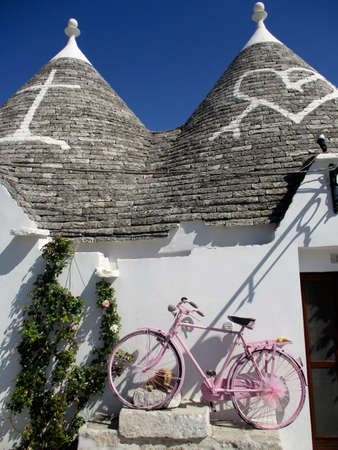 Unique and unmistakable architecture  of Alberobello Italy