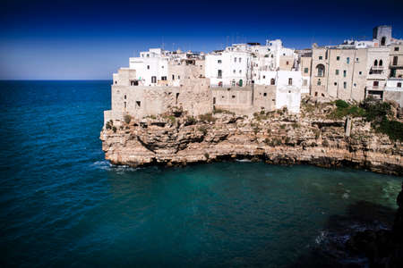 Summer view of the town of Polignano a Mare, province of Bari Italy