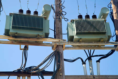 Old electric transformers for energy transportation in the city.
