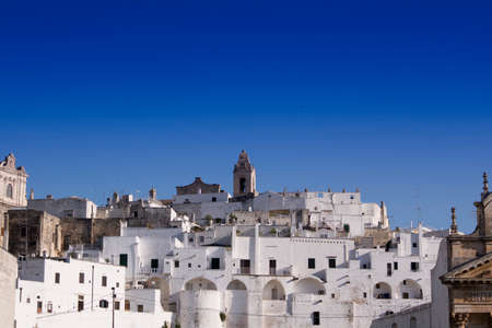 External view of Ostuni the white city in Puglia Italy