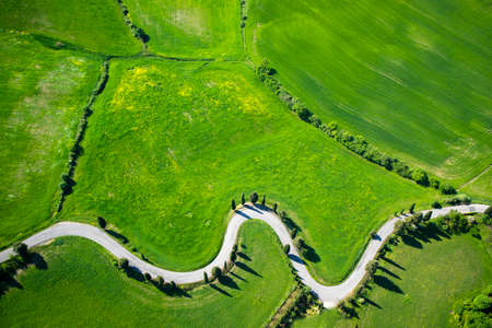 Aerial View of the Montichiello road in Siena Italy Stockfoto - 101305242
