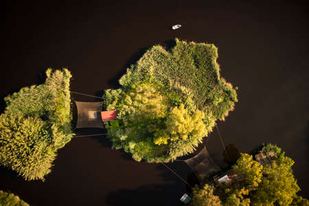 Small places for fishing on Lake Massaciuccoli in Viareggio Tuscany