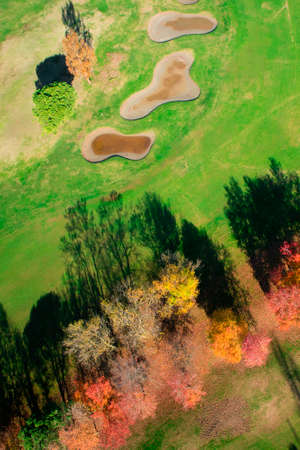 Aerial view of a field prepared for the game of golf in the autumn season Stock Photo