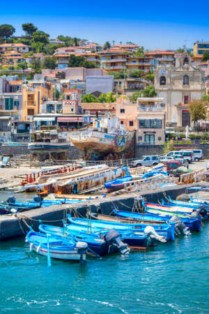 Summer view of the Port of Aci Trezza in Sicily Italy
