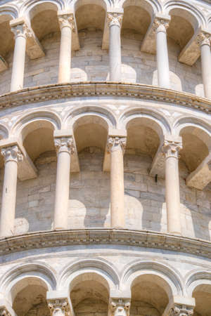 Construction and architectural details of the famous Leaning Tower of Pisa Italy Stock Photo - 131764023