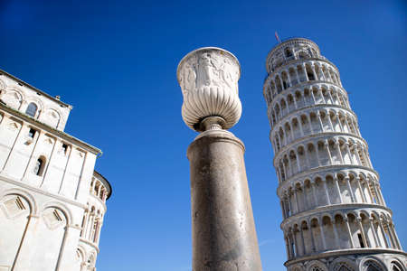 Perspective view of the architecture of the Leaning Tower of Pisa Tuscany Italy