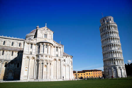 Perspective view of the architecture of the Piazza dei Miracoli in Pisa Tuscany Italy