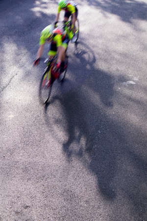 Photographic representation of the action taken during a women's cycling race