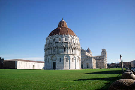 Perspective view of the Baptistery in Piazza dei Miracoli in Pisa Tuscany Italy Editorial