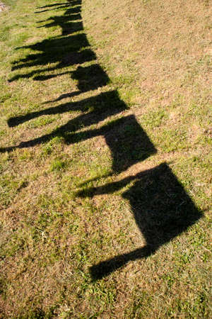 Photographic shot of the shadow produced by the clothes hung out to dry in the sun