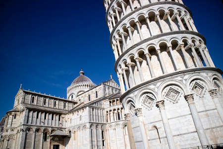 Architectural details of church and tower of the Piazza dei Miracoli in Pisa Tuscany Italy Standard-Bild