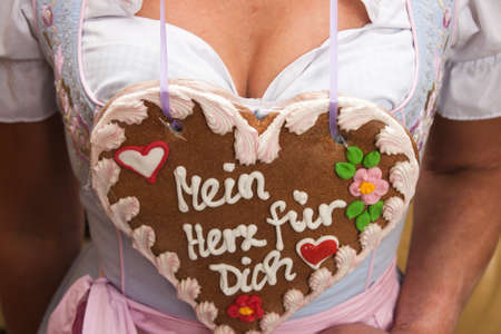Gingerbread heart and woman with costume Stock Photo - 13443261
