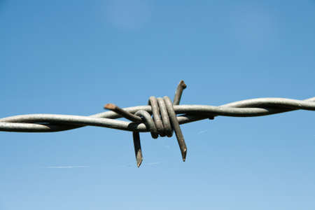 Barbed wire fence in Germany Standard-Bild