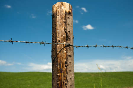 schutz: Barbed wire fence in Germany Stock Photo