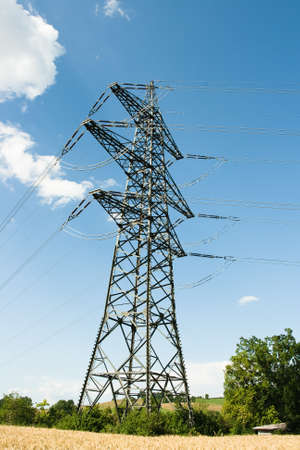 blau: overhead line in Germany Stock Photo
