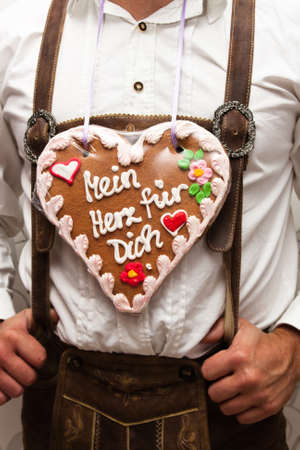 tracht: in munich with traditional gingerbread heart