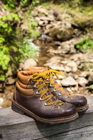 Hiking shoes in the mountains